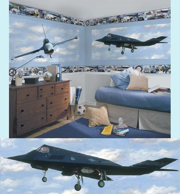 F-117 Stealth Fighter Peel and Stick Wall Mural - Kids Wall Decor Store