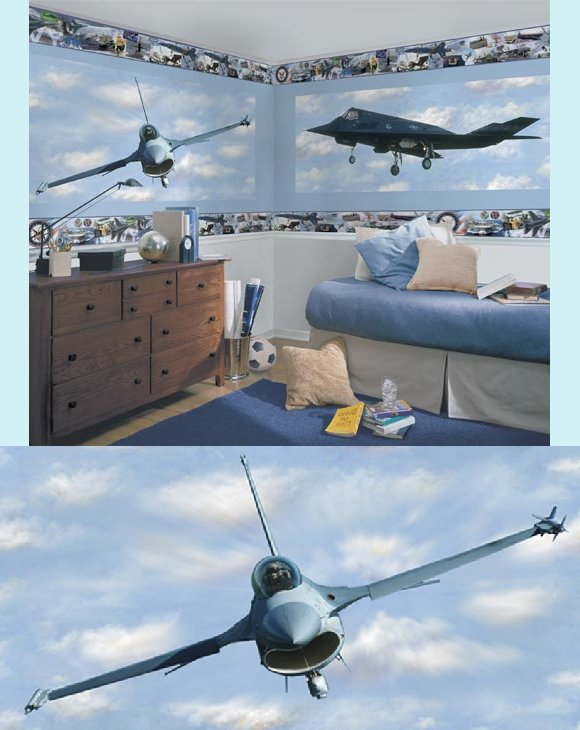 F-16 Falcon Fighter Peel and Stick Wall Mural - Kids Wall Decor Store