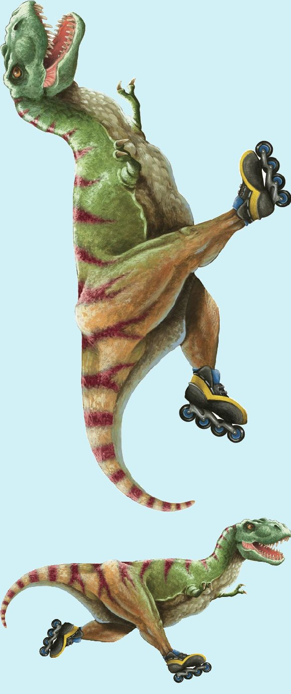 T-Rex with Skates Peel and Stick Wall Mural - Wall Sticker Outlet