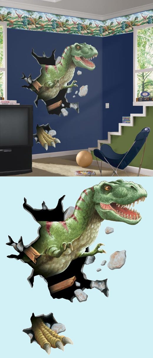 T-Rex Through The Wall Peel and Stick Mural - Kids Wall Decor Store