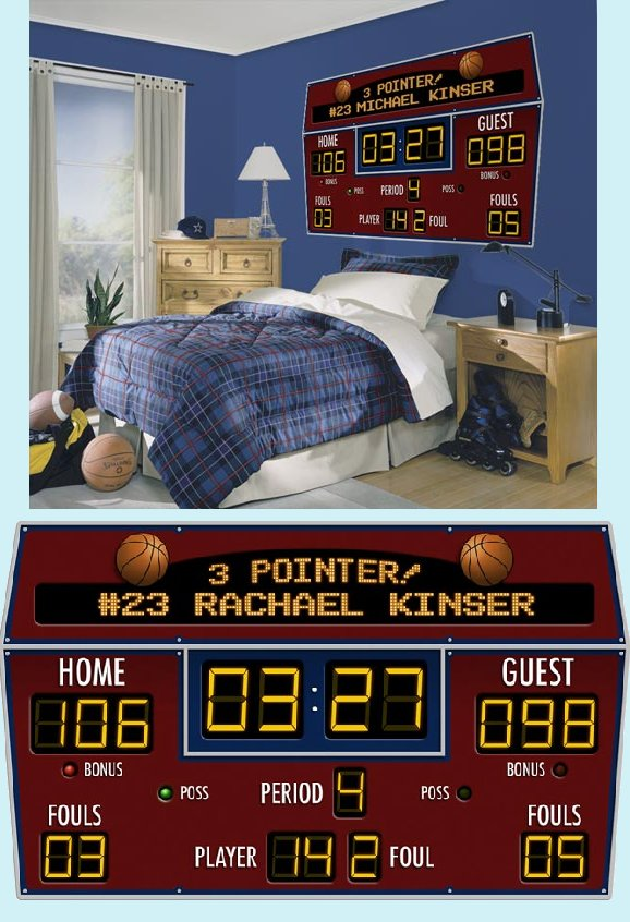 Basketball Scoreboard Peel and Stick Wall Mural - Wall Sticker Outlet