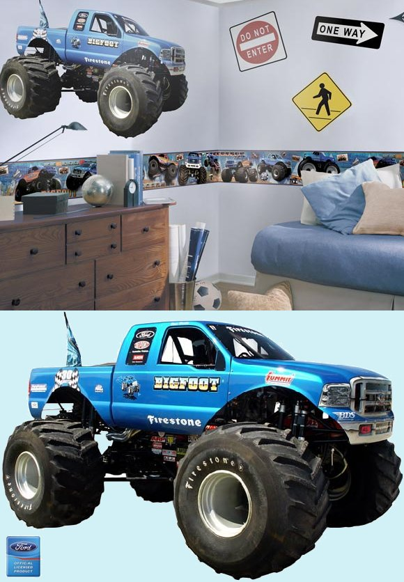 Bigfoot Monster Truck Peel and Stick Wall Mural - Kids Wall Decor Store