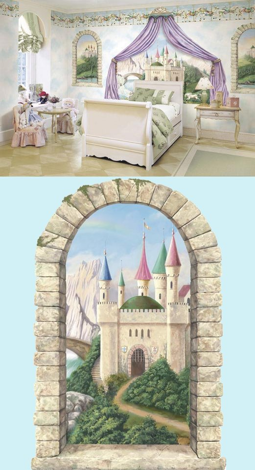 Mountainview castle window peel and stick mural for Castle mural kids room