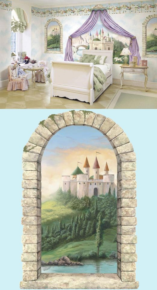 Castle Window Peel and Stick Wall Mural - Kids Wall Decor Store