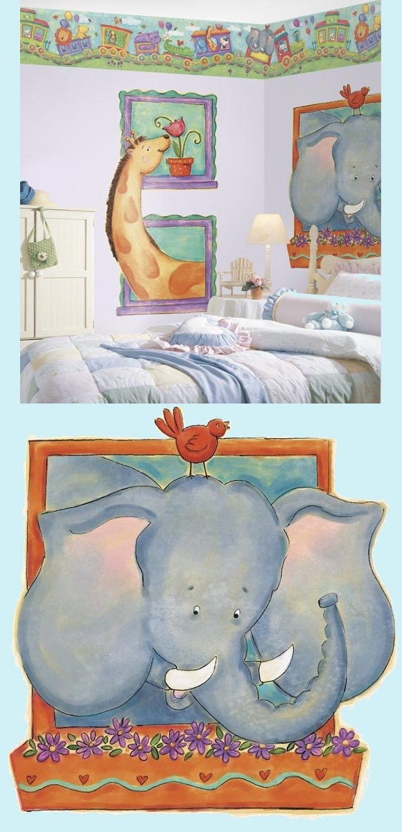 Elephant Peel and Stick Wall Mural - Kids Wall Decor Store