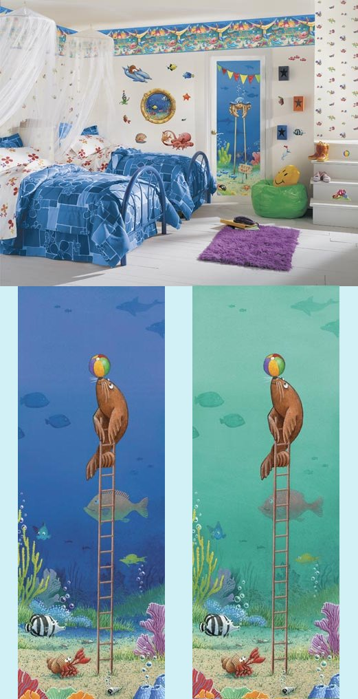 Fish Circus Seal Peel and Stick Mural in 2 Colors - Wall Sticker Outlet