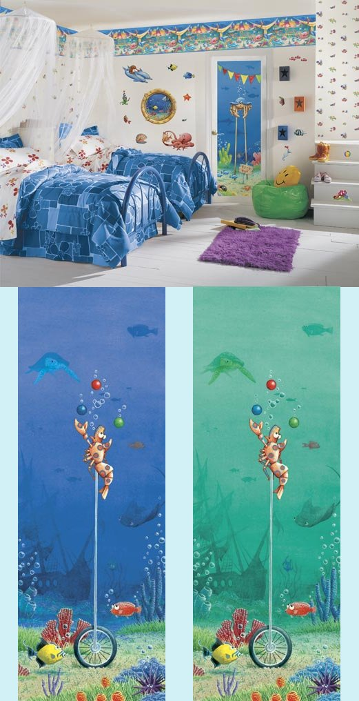 Fish Circus Shrimp Peel and Stick Wall Mural - Kids Wall Decor Store