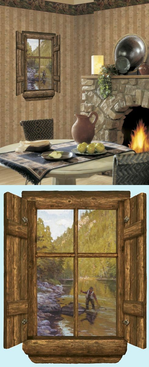 Fishermans Selway Log Cabin Peel and Stick Mural - Wall Sticker Outlet