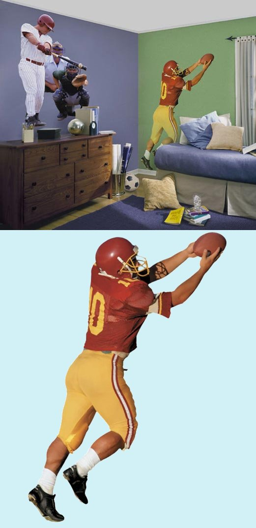 football player peel and stick wall mural kids wall. Black Bedroom Furniture Sets. Home Design Ideas