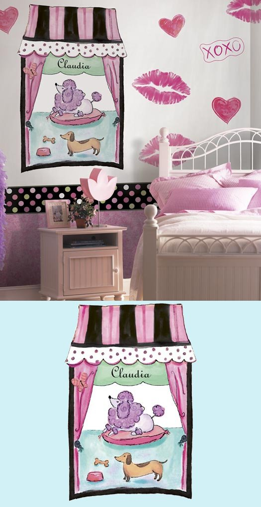 French Poodle Window Peel and Stick Wall Mural - Wall Sticker Outlet