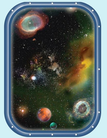 Galaxy Space Window 1 Peel and Stick Wall Mural - Wall Sticker Outlet