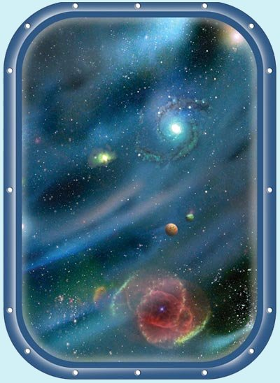 Galaxy Space Window 3 Peel and Stick Wall Mural - Wall Sticker Outlet