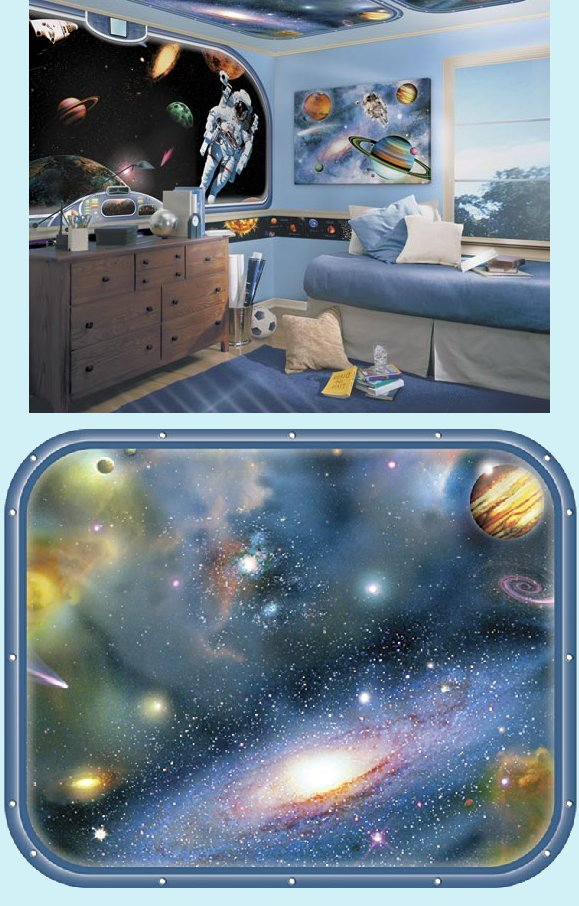 Galaxy Space Window 2 Peel and Stick Wall Mural - Kids Wall Decor Store