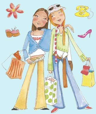 Girlfriends - Diana and Gretchen Peel and Stick - Wall Sticker Outlet