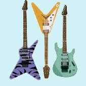 Hot Guitars Set of 3 Peel and Stick Wall Mural