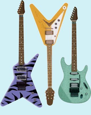 Hot Guitars Set of 3 Peel and Stick Wall Mural - Kids Wall Decor Store