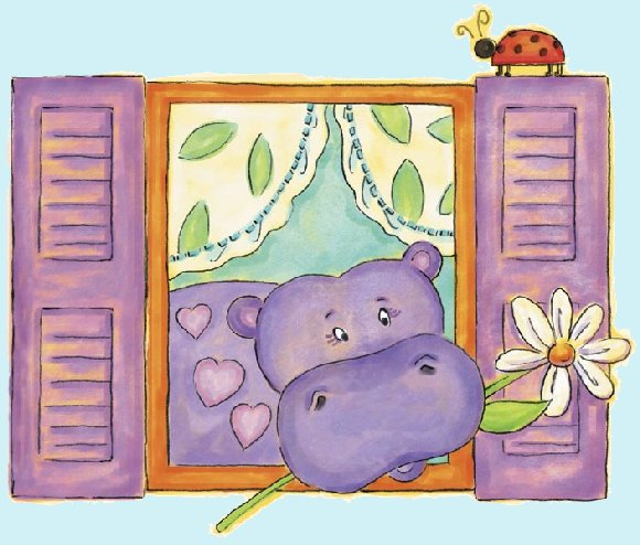 Hippo Peel and Stick Wall Mural - Kids Wall Decor Store