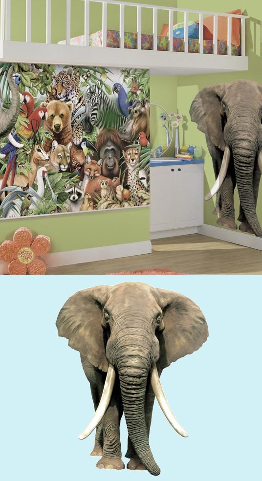 Elephant Jungle Animals Peel and Stick Mural - Kids Wall Decor Store