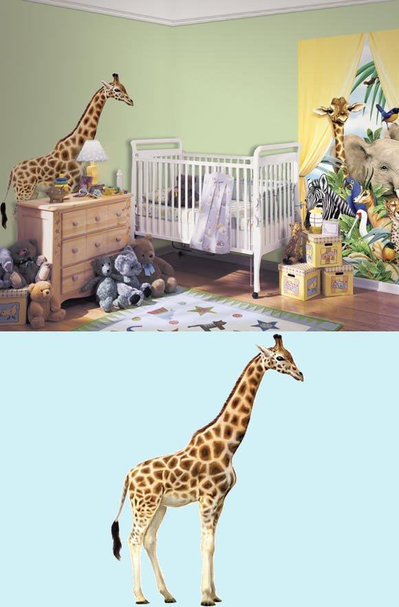 Giraffe Jungle Animals Peel and Stick Mural - Kids Wall Decor Store