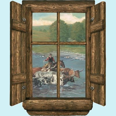 Log Window Cattle Drive Peel and Stick Wall Mural - Kids Wall Decor Store