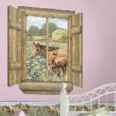 Horses Log Window Peel and Stick Wall Mural
