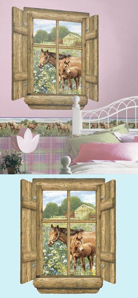 Stick on murals 2017 grasscloth wallpaper for Window horses