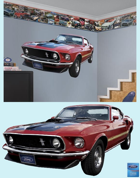 1969 Ford Mustang Mach I Peel and Stick Wall Mural - Kids Wall Decor Store