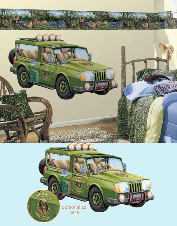 Safari Wagon Peel and Stick Wall Mural - Kids Wall Decor Store