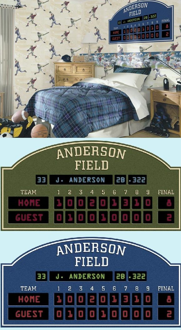 Baseball scoreboard peel and stick wall mural for Baseball scoreboard wall mural
