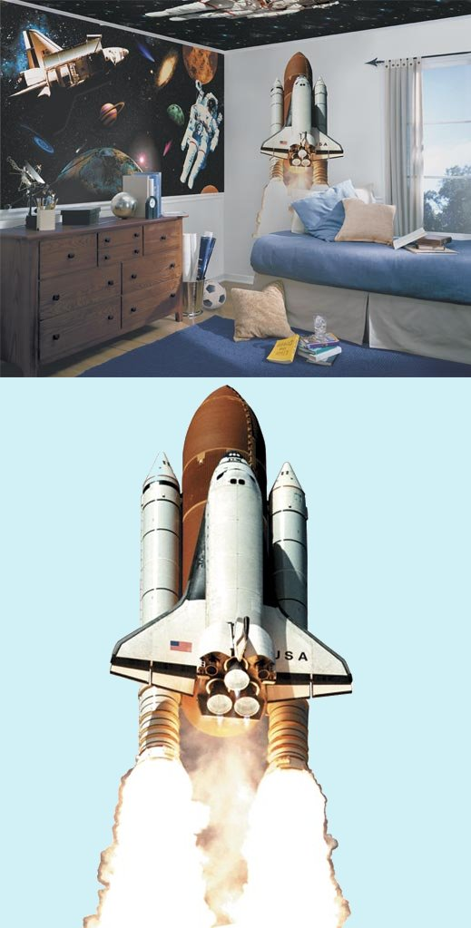 Space Shuttle Peel and Stick Wall Mural - Kids Wall Decor Store
