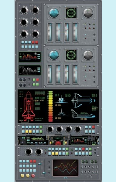 Spaceship Control Panel Peel and Stick Wall Mural - Wall Sticker Outlet