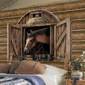 Horse Stable Door Peel and Stick Mural in 2 Colors