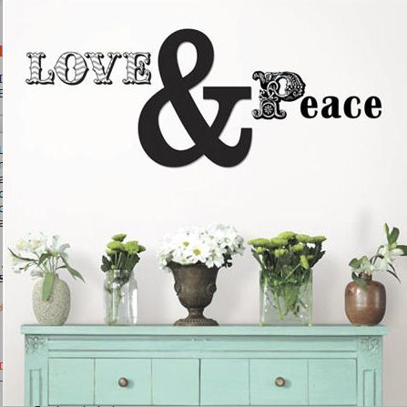 Love and Peace Wall Quote Decal - Wall Sticker Outlet