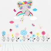 Rainbow Elephant Garden Wall Decals