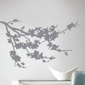 Gray Silhouette Blossom Branch Wall Decals
