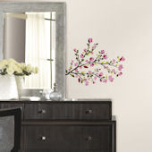 Pink Blossom Branch Peel and Stick Wall Decals