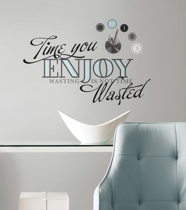 Time You Enjoy Peel and Stick Wall Decal and Clock - Wall Sticker Outlet