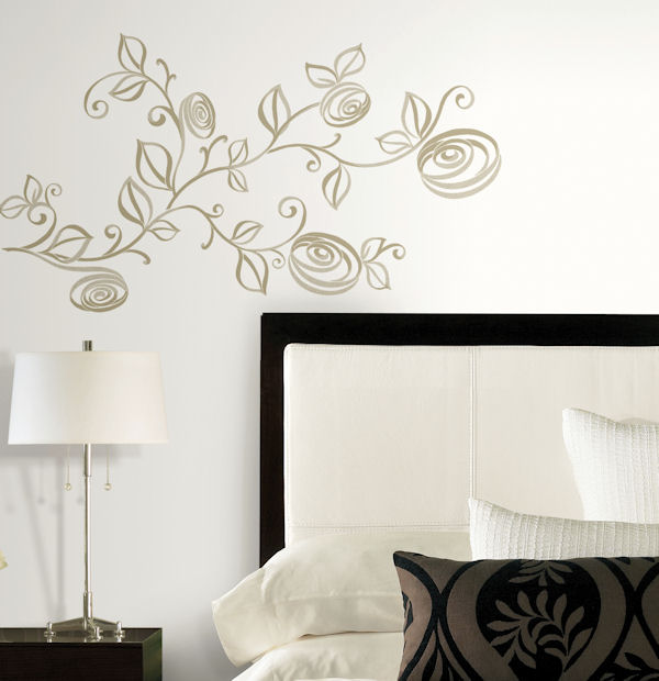 stylized roses peel and stick wall decals. Black Bedroom Furniture Sets. Home Design Ideas
