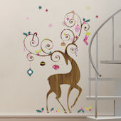 Ornamental Reindeer Giant Holiday Wall Decals