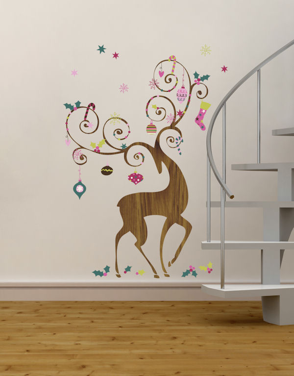 ornamental reindeer giant holiday wall decals holiday wall stickers xfg140