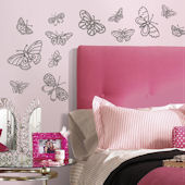 Glitter Butterflies Peel and Stick Wall Decals