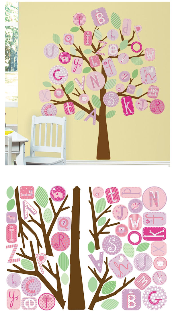 Abc Wall Decal Tree : Pink ABC Tree Giant Wall Decals SALE   Wall Sticker  Outlet