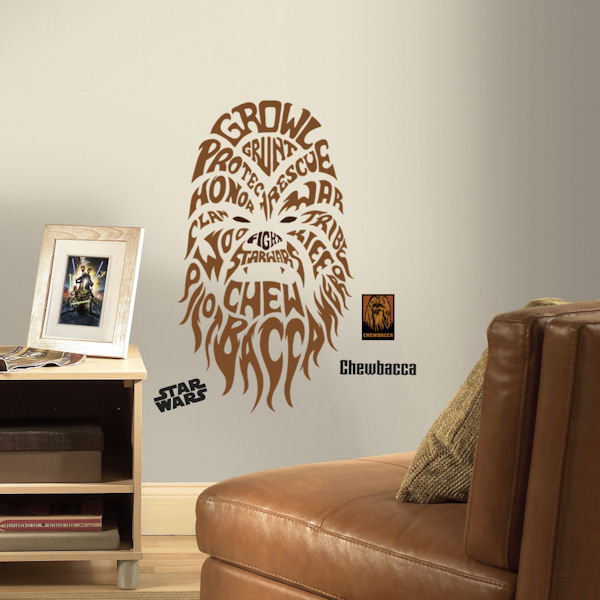 Star Wars Chewbacca Typographic Giant Wall Decal - Wall Sticker Outlet