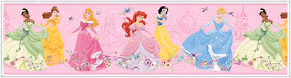Dancing Princess Pink Prepasted Border - Wall Sticker Outlet