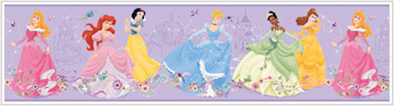 Dancing Princess Purple Prepasted Wallpaper Border - Wall Sticker Outlet