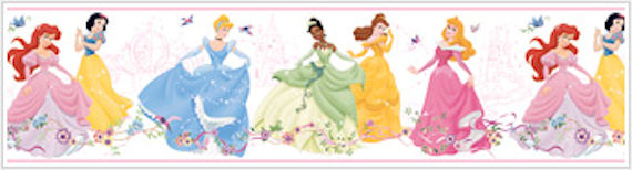Dancing Princess White Prepasted Border - Wall Sticker Outlet