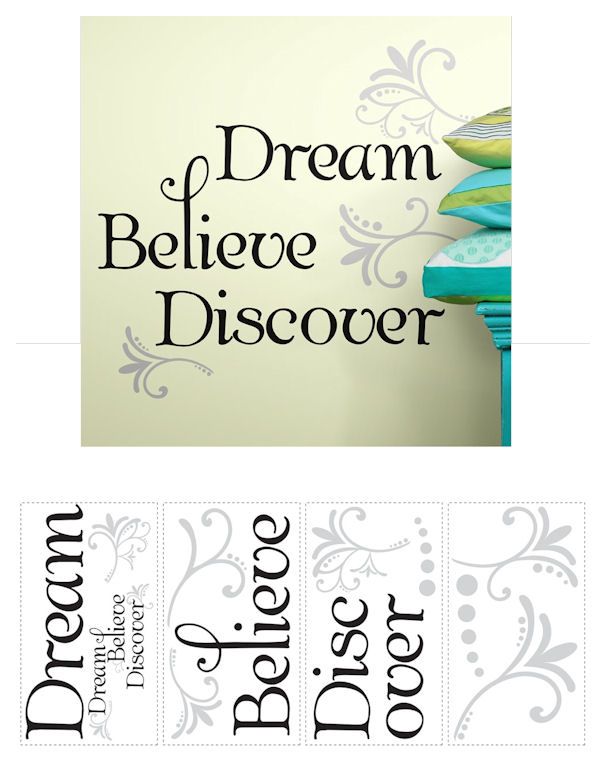 Dream Believe Discover Quote Wall Decals - Wall Sticker Outlet