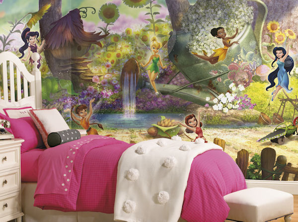disney fairies pixie hollow xl mural 6 5 x 10. Black Bedroom Furniture Sets. Home Design Ideas