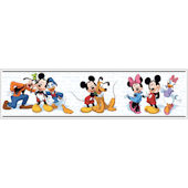 Mickey and Friends White Black Prepasted Border
