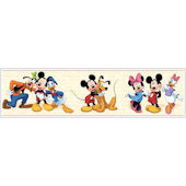 Mickey and Friends Cream Red Prepasted Border